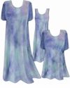 SOLD OIT! Semi-Sheer Blue Aqua Tiedye Print Ribbed Jersey Tops & Cover-Ups Plus Size & Supersize