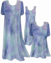 SOLD OUT! CLEARANCE! Semi-Sheer Blue Aqua Tiedye Print Ribbed Jersey Plus Size Coverup Tops Dresses / Swimsuit Coverups Overdress Plus Size & Supersize 4x