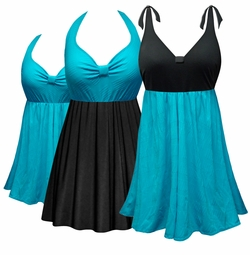 SOLD OUT! Customizable Teal Halter or Shoulder Strap 2pc Plus Size Swimsuit/SwimDress 0x to 9x