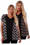SOLD OUT! Cute Black and Tan V-Neck Print Plus Size Short Sleeve Rayon Tops