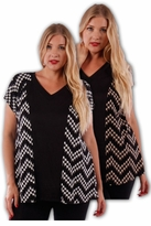 SALE! Cute Black and Tan V-Neck Print Plus Size Short Sleeve Rayon Tops 5x