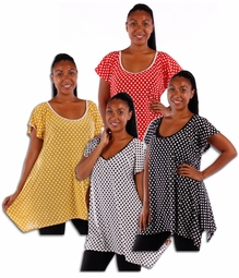 SOLD OUT! Sale! Cute! Polka Dot Plus Size Asymetrical Long Plus Size Slinky Tops! Black or Red 4x