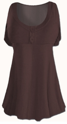 SALE! Plus Size Dark Brown Poly/Cotton Mock Button Babydoll Short Sleeve Tops 1x 2x 3x 4x 5x 6x 7x 8x
