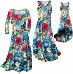 SOLD OUT! CLEARANCE! Dark Red & Ivory Floral Speckled Paradise Slinky Print Plus Size & Supersize Dresses 0x