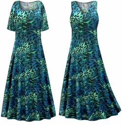 SALE! Customizable Plus Size Teal & Green Animal Slinky Print Short or Long Sleeve Dresses & Tanks - Sizes Lg XL 1x 2x 3x 4x 5x 6x 7x 8x 9x