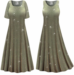 SALE! Customizable Plus Size Sparkling Olive Glitter Slinky Print Short or Long Sleeve Dresses & Tanks - Sizes Lg XL 1x 2x 3x 4x 5x 6x 7x 8x 9x