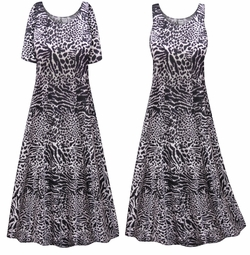 SALE! Customizable Plus Size Black & Gray Animal Print Princess Cut Poly/Cotton Jersey Dress 0x 1x 2x 3x 4x 5x 6x 7x 8x 9x