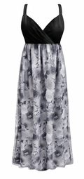 NEW! Customizable Plus Size 2 Layer (Sheer Over Slinky) Gray & White Roses Slinky Print Empire Waist Dress 0x 1x 2x 3x 4x 5x 6x 7x 8x