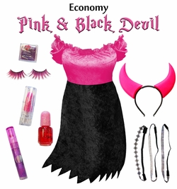 SALE! Economy Pink & Black Devil Plus Size & Supersize Halloween Costume and Accessory Kit! Lg XL 1x 2x 3x 4x 5x 6x 7x 8x 9x