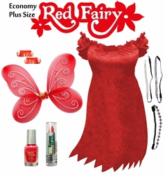 SALE! Economy Red Fairy Plus Size & Supersize Halloween Costume and Accessory Kit! Lg XL 1x 2x 3x 4x 5x 6x 7x 8x 9x