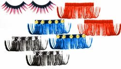 SALE!  Extra Long Rhinestone & Plain Eyelashes! Black! Blue! Red! Orange! Purple!