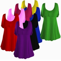 Cute! Extra Long - Very Pear - Cotton Lycra Mock Button Short Sleeve Top 1x to 7x