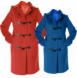 SALE! Plus Size Red or Blue Knee Length Toggle Coat With Hood 3x