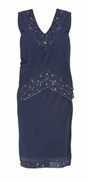 NEW! Sequined Navy Tiered Plus Size V-Neckline Dress 3x 4x