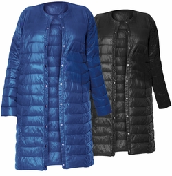 NEW! Black or Blue Long Light Weight Puffer Coat Plus Size 3x 4x 5x