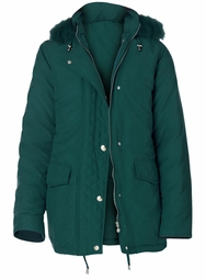 SALE! Plus Size Hooded Green Microfiber Down Parka 3x