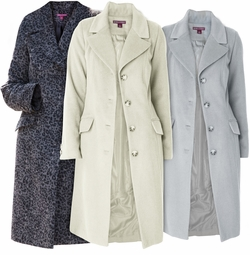 NEW! Gray, Ivory or Leaopard Three-Quarter Woolblend Coat Plus Size 2x 3x