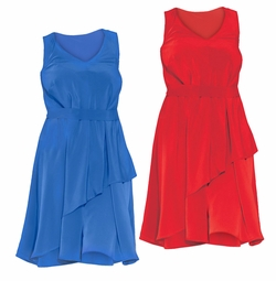SALE! Beautiful Flowing Red or Blue Solid Color Asymmetrical Dress Plus Size 3x 4x 30w 32w 34w