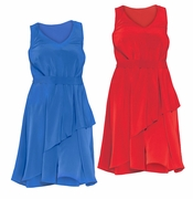 NEW! Red or Blue Solid Color Asymmetrical Dress Plus Size 3x 4x