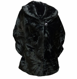 SOLD OUT! Black Faux Fur A-Line Coat Plus Size