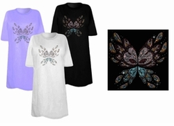 SOLD OUT! Abstract Butterfly Wings Rhinestuds Plus Size & Supersize T-Shirts 3x