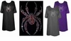 SOLD OUT! FINAL SALE! Awesome Black or Red Crystal Rhinestone Spider Plus Size T-Shirts  2xl