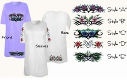 SOLD OUT! FINAL SALE! Beautiful Floral Tattoo Print Plus Size & Supersize T-Shirts6xl
