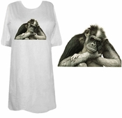 FINAL SALE! Black - Brown or Pink - The Thinker! Adorable Chimp Monkey Plus Size & Supersize T-Shirts lg  4x