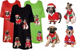 SALE! Restock up!!! Black or Navy Santa's Puppies 2 - Plus Size Dog T-Shirts SM MD