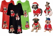 FINAL SALE! Restock up!!! Black or Navy Santa's Puppies 2 - Plus Size Dog T-Shirts SM MD