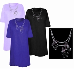 SOLD OUT! FINAL SALE! Butterfly Chain Neckline Sparkly Rhinestud Rhinestones Plus Size & Supersize T-Shirts 6x