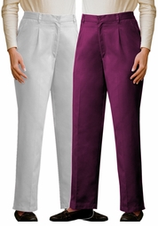 SOLD OUT! Casual White or Plum Pleat Front Woven Twill Plus-Size Pant  30wt