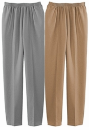 SOLD OUT! CLEARANCE! Casual Plus-Size Silver or Tan Woven Pull-On Pant 34w