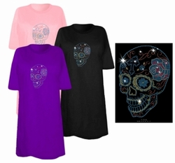 SOLD OUT! FINAL SALE! Day Of The Dead Sugar Skull With Cross & Rose Sparkly Rhinestuds Plus Size & Supersize T-Shirts 3xl