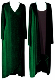 SOLD OUT!!!!!!!!! FINAL SALE! Deep Green Long Sleeve Velvet or Slinky  Plus Size Cascading Wrap Dress or Jacket LG