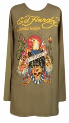 SOLD OUT! Just Reduced! Ed Hardy Army Green Eagle Plus Size Long Sleeve T-Shirts by Christian Audigier 4x