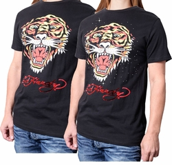 SOLD OUT! SALE! Just Reduced! Ed Hardy Black Ferocious Tiger T-Shirt And Add Silver Rhinestuds 2XL*