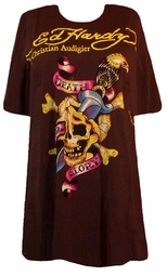 SOLD OUT! SALE! Just Reduced! Ed Hardy Brown Death & Glory Plus Size T-Shirts by Christian Audigier 2X