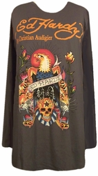SOLD OUT! FINAL SALE! Just Reduced! Ed Hardy Charcoal Eagle Plus Size Long Sleeve T-Shirts by Christian Audigier 3x