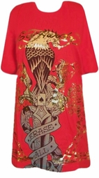 SOLD OUT! Ed Hardy Red Erase All Fears Plus Size T-Shirts by Christian Audigier  3x