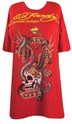 SOLD OUT! SALE! Just Reduced! Ed Hardy Red New York City Plus Size T-Shirts by Christian Audigier  2X