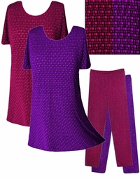SOLD OUT! FINAL SALE! Fuschia or Purple Embossed Slinky Plus Size Tops & Pants XL