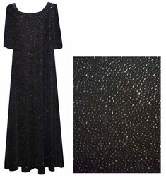 SALE! Gorgeous Midnight Black with Silver Glimmer Plus Size & Supersize Slinky Dresses XL 0x 2x 6x