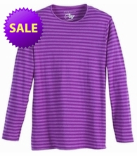 SOLD OUT! Just Reduced! Grape Striped Long Sleeve Round Neck T-Shirts Plus Size & Add Rhinestuds 5x