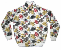 SOLD OUT! Hot White Jacket With Yellow, Red and Black Leaf Pattern XL