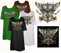 CLEARANCE! Love Conquers All Cross Wings Rose Tattoo Plus Size & Supersize T-Shirts 2x