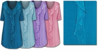 SOLD OUT! Lovely Pastel Ruffled V-Neckline Plus-Size Slinky Tops 0x