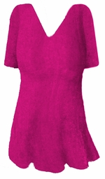 FINAL SALE!!! Lavender Lovely Plus Size V-Neck Slinky Short Sleeve Shirt A-Line 4x