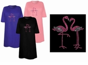 CLEARANCE! Pair of Pink Flamingos Sparkly Rhinestuds Plus Size & Supersize T-Shirts 3x