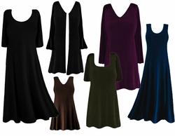 FINAL SALE! Plus Size Solid Slinky Dresses Shirts Tops Jackets & Pants! 0x 1x 2x 3x 4x Black Green Purple Blue